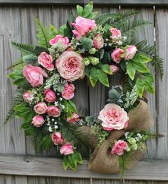 Pink Rose and Fern Spring Wreath, Easter, Mother's Day, Burlap, Cottage, Large
