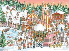 In the latest brainteaser to hit the internet users are required to seek out Father Christmas who is hidden among a busy crowd at a Christmas party. Father Christmas, Christmas Time, Merry Christmas, Xmas Pudding, Find Santa, Wheres Wally, Hidden Pictures, Flip Cards, Brain Teasers