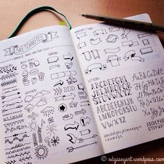 Okay. I've run out of room on my #sketchnotes spread. I could probably go on forever doing these! Super fun, and now I have a good chunk of reference doodles to look back to while I work in my #bulletjournal  #therevisionguide #drawing #doodle #dailydoodle2016 #banners #icons #arrows #sketch #illustration #bujo #leuchtturm1917 #sakuramicron