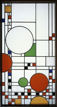 Frank Lloyd Wright: Linden Glass Company, design Window from the Avery Coonley Playhouse Stained Glass Door, Stained Glass Designs, Stained Glass Patterns, Leaded Glass, Mosaic Glass, Window Glass, Piet Mondrian, Frank Lloyd Wright, Wooden Window Blinds