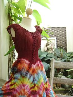 Princess Tie Dyed Cotton Dress  R0304 by fantasyclothes on Etsy, $48.00