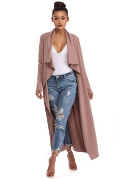 Mauve Downtown Savvy Trench Duster   windsor