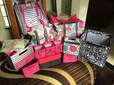 Had a party with over $1200 sales! January was double rewards month!! I got all of this for only $50! I love my thirty one rep!! Cherika you're awesome! Bubble bloom & grey wave...