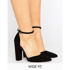 ASOS PENALTY Wide Fit Pointed High Heels (975 MXN) ❤ liked on Polyvore featuring shoes, pumps, black, heels, pointed-toe pumps, black heeled shoes, high heel shoes, black prom shoes and wide heel pumps