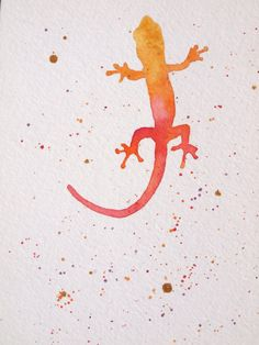 Gecko Original Watercolour Painting 5x7 by ShalomWiebe on Etsy