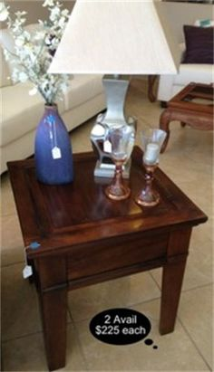 Set of 2 rich rustic cherry finish end tables. Quality heavy pieces.  Yesterdays Treasures Consignment  5829 Lone Tree Way Suite J  Antioch  925 - 233 - 4547  www.Yesterdayststore.com  Info@yesterdayststore.com