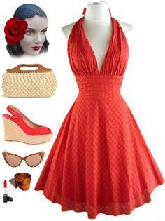 50s style bomshell halter dress, cute!