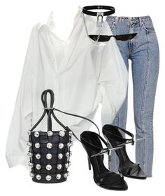 A fashion look from February 2018 featuring embellished heel shoes, bucket shoulder bag and leather choker necklaces. Browse and shop related looks. Classy Outfits, Stylish Outfits, Fashion Outfits, Fashion Trends, Fashion Design, Polyvore Outfits, Polyvore Fashion, Mode Bcbg, Fashion Moda