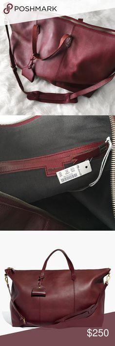 """Madewell Transport Weekender in Dark Cabernet Gorgeous genuine leather weekender bag from Madewell. Dark Cabernet color. NWT, just minor wear on corners. Still in stores for $298! ------------  Made of vegetable-tanned leather that burnishes with wear into a beautiful patina. Please note: As it is made of a natural material, each bag varies slightly in texture and color. Zip closure. 1 interior zip pocket, 2 interior pockets. 17 3/4"""" shoulder strap. 4 3/4"""" handle drop. 13 3/4""""H x 18 7/8""""W at…"""