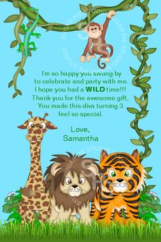 diy jungle theme first birthday | Jungle Safari Zoo Animals or ANY THEME Birthday thank you Custom ...