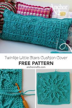 Blue colour cushion cover with pretty textured stars designed by Ana Morais Soares Made with Anchor Creativa Cushion Cover Pattern, Crochet Cushion Cover, Crochet Pillow Pattern, Crochet Cushions, Crochet Blocks, Granny Square Crochet Pattern, Afghan Crochet Patterns, Crochet Squares, Crochet Granny