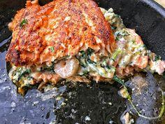 Shrimp & spinach stuffed blackened salmon
