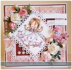 I was asked to make a card for a christening. Mo Manning, Whimsy Stamps, Digital Stamps, Baby Cards, Digital Image, Christening, Embellishments, Paper Crafts, Babies