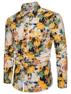 #Spring #AdoreWe #TideBuy - #TideBuy Tidebuy Long Sleeve Floral Print Mens Casual Shirt - AdoreWe.com