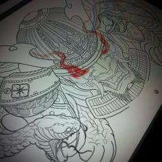 Instagram media by quan9sta - #japanese #japanesetattoo #tattoo #tattoart #sydnetattooartist #cabramattaink #kabuto #samurai #snake #sketch #drawing