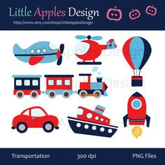 Transportation Clip Art / Transportation Clipart / Plane, Helicopter, Train, Automobile, Boat, Rocket, Air Balloon / Commercial & Personal on Etsy, $4.50
