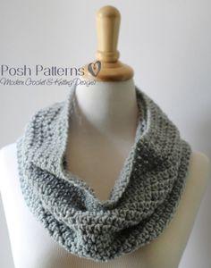 Free Easy Cowl Crochet Pattern from Posh Patterns blog. Half double crochet cowl (UK htr).