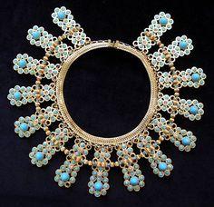 "3"" WIDE William deLillo (de Lillo) Turquoise CLEOPATRA BIB Necklace, 1960's Featured in Jewels of Fantasy"