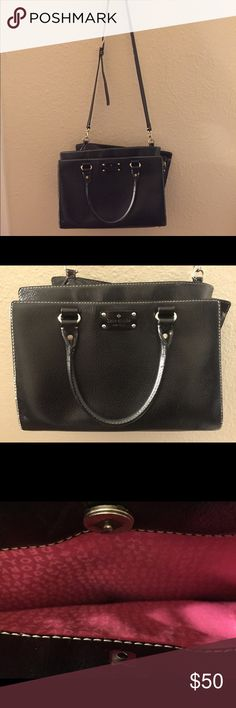 """Kate Spade purse! Black Kate Spade handbag. Comes with a shoulder strap as seen or can be carried with handles. Approx 12"""" L and 8"""" H. Damage done to magnetic button that is attached to front pocket but every other zipper and everything works great. kate spade Bags Totes"""