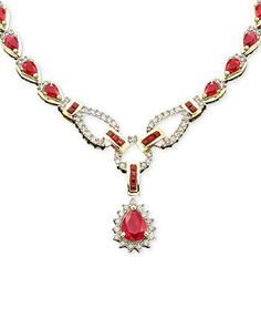 14k Gold Ruby (12 ct. t.w.) & Diamond (1 1/6 ct. t.w.) Toggle Necklace