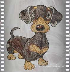 Dachshund - Machine Embroidery Designs Set for a Babies and Children of a series Old Toy made by Liuba Tabunidze.  Designs are delivered as a .zip file and consists of: - two files of designs for hoops 4x4 and 5x7 - Color Charts, - Pictures of designs and embroidered project, .txt info file AE_Dachshund_ OldToy, Size:3.88x4.50  (98.6x114.4 mm), Stitches:22440  AE_Dachshund_OldToy4x4, Size:3.38x3.92  (85.8x99.6 mm), Stitches:18676  7 Colors  Available formats: DST, EXP, HUS, JEF, PEC, PES…