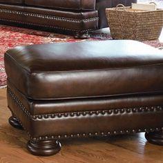 Bernhardt Foster Leather Ottoman