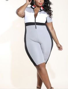 632367dd50a3 womens plus size jumpsuit Colorblocked Bicycle 1x 2x 3x Gray Black Red   fashion  clothing