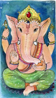 Original Painting-Ganesha-Ganesh-Original Watercolor Art-Hindu Deity