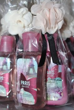 "Parisian, French, Paris, Pink, Pink and black / Birthday party favors ""Springtime in Paris"" Paris Party, Paris Themed Birthday Party, 13th Birthday Parties, Birthday Party Themes, Spa Birthday, 10th Birthday, Birthday Ideas, Teen Party Favors, Wedding Favors"