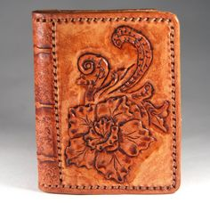 Leather cardholder. Carving leather. Brown floral by TiVergy