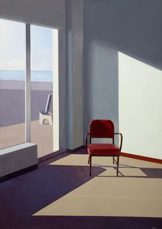 Feels very much like Edward Hopper and I like it a lot. Chair Drawing, Purple Chair, Pics Art, Deco Design, Light And Shadow, Contemporary Art, Art Photography, Illustration Art, Illustrations