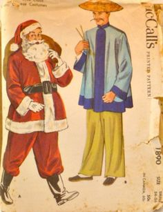 117430f2ccf Vintage 1950 s Costume Sewing Pattern Size Small 34 to 36 Santa Claus Traditional  Chinese Suit Hats