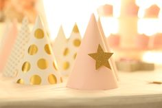 twinkle twinkle little star, party, first birthday, party hats, pink and gold