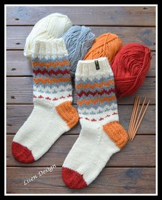 Fair Isle Knitting Patterns, Knitting Charts, Knitting Socks, Free Knitting, Crochet Patterns, Knit Socks, Crochet Slippers, Knit Crochet, Wooly Bully