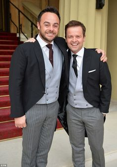 Best friends: Ant McPartlin and Declan Donnelly have shared many life-changing moments and are both looking forward to fatherhood Saturday Night Takeaway, Declan Donnelly, Ant & Dec, Britain Got Talent, Tv Presenters, Slimming World Recipes, Celebs, Celebrities, Ants