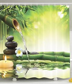 Moldiy Zen Bamboo with Flowing Water Design Shower Curtain for Home Decor72inchx72inch ** Learn more by visiting the image link.