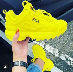 Name:Fila sneakers Colors:white and yellow  Moda Sneakers, Cute Sneakers, Sneakers Mode, Cute Shoes, Air Max Sneakers, Sneakers Fashion, Me Too Shoes, Fashion Shoes, Shoes Sneakers