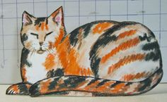 """""""Calico Cat I""""  5"""" tall x 9"""" wide approx.. $9.99 ppd. to lower 48. Paypal"""