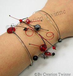 red and black bracelet, unique wedding bracelet design, swirls bracelet,prom jewelry,wedding jewelry,bridesmaids gift,mother days gift on Etsy, $36.50