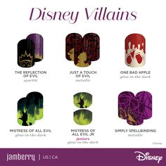 Available in LIMITED SUPPLY until the end of September! The Disney Collection by Jamberry of Villains! This collection includes glow-in-the-dark nail wraps perfect for Halloween!   Shop online at www.jammingbug.jamberrynails.net  Buy 3 Get 1 Free! Follow me on Facebook at www.facebook.com/JenJammingBug