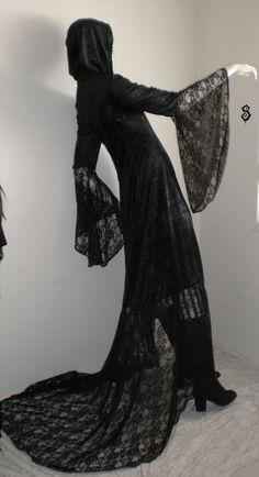 GRAVELESS SOUL Floor Length Black Velvet Lace Hooded Overdress Coat Gothic Witch. $150.00, via Etsy.