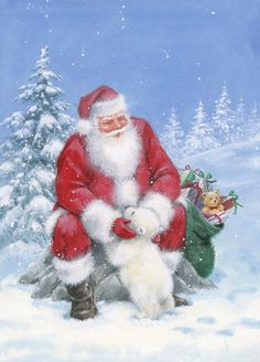 Leading Illustration & Publishing Agency based in London, New York & Marbella. Vintage Christmas Cards, Retro Christmas, Santa Christmas, Winter Christmas, Xmas, Christmas Scenes, Christmas Pictures, Santa Pictures, Christmas Paintings