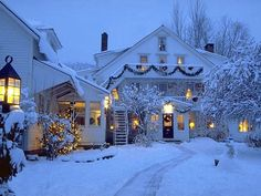 Christmas decorated houses covered with snow-this is what a home at Christmas should look like! Description from pinterest.com. I searched for this on bing.com/images