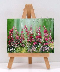 Field of flowers. This miniature painting is a great gift, which is ready to be displayed anywhere. The easel is included. 3x4 original miniature oil painting. ideal as a gift for any occasion.    All art will be shipped USPS priority mail, includes tracking number and insurance.  http://www.etsy.com/shop/valdasfineart