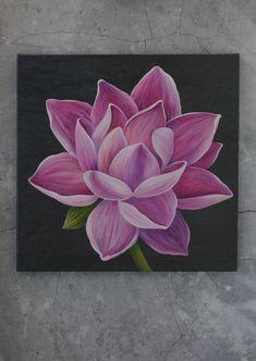 Original Botanic Painting by Liubov Kvashnina Lotus Drawing, Lotus Painting, Acrylic Painting Flowers, Acrylic Painting Canvas, Lotus Flower Art, Lotus Flower Paintings, Art Painting Gallery, Mini Canvas Art, Flower Canvas