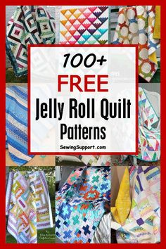 Over 100 free jelly roll quilt patterns and tutorials. Plenty of ideas to help you use those fabric strips! Over 100 free jelly roll quilt patterns & tutorials. Quilting ideas and projects using fabric strips. Many simple and easy designs. Strip Quilt Patterns, Jelly Roll Quilt Patterns, Strip Quilts, Patchwork Patterns, Easy Quilts, Sewing Patterns Free, Quilting Patterns, Quilting Ideas, Free Pattern
