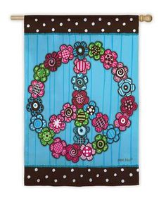 """Floral Peace Sign Seasonal Banner House Flag - Size: 28""""x40"""""""
