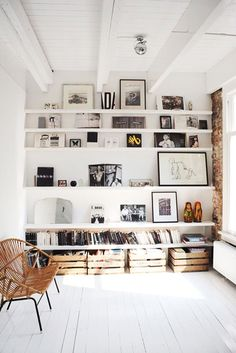 wall shelving. I love the crates underneath too. Would be a good way to store clutter.