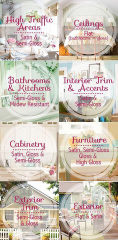 Paint Sheen for Each Room of the House. Different paint sheen and where to apply them. How to Choose the Right Paint Sheen For Your Room. Via The Budget Decorator Home Renovation, Home Remodeling, Home Design, Design Ideas, Modern Design, Design Inspiration, Paint Sheen, Deco Studio, Home Decoracion