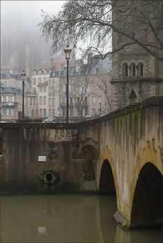 St Etienne Cathedrale in the mist from St Marcel bridge Metz - Lorraine France